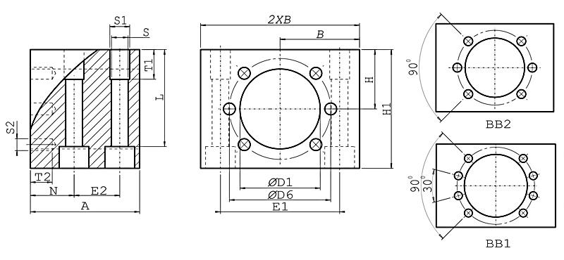 Держатель шариковой гайки MGD32 стальной. Схематический чертеж.