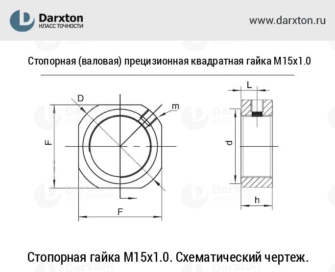 Стопорная гайка M15x1.0. Схематический чертеж.