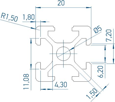 Профиль алюминиевый конструкционный 6-2020. Схематический чертеж.